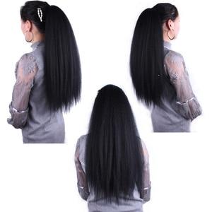 Image 5 - Синтетический длинный хвост 22 дюйма, кудрявый прямой искусственный конский хвост, парик для женщин, наращивание волос на заколках
