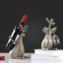fashion creative resin deer red wine holders home decor crafts room wedding decoration objects animal cup figurine