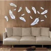 16 Piezas de Acrílico Pegatinas de Pared Espejo DIY Al Por Mayor Espejo de la pluma 3D espejo combinación pegatinas de pared decoración del hogar