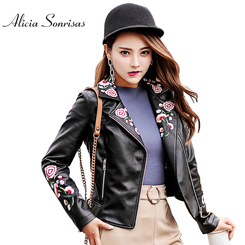 2018 New Flowers Embroidery Black   Leather   Jacket Women Motorcycle Street Women Faux   Leather   Washed PU Vintage Coats AS17022