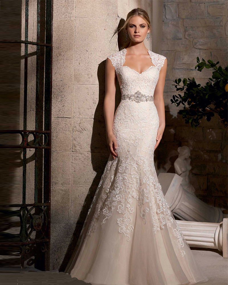 wedding dress mermaid Sexy Sweetheart Chapel Train Lace Trumpet Mermaid Wedding Dress With Appliques Wmc