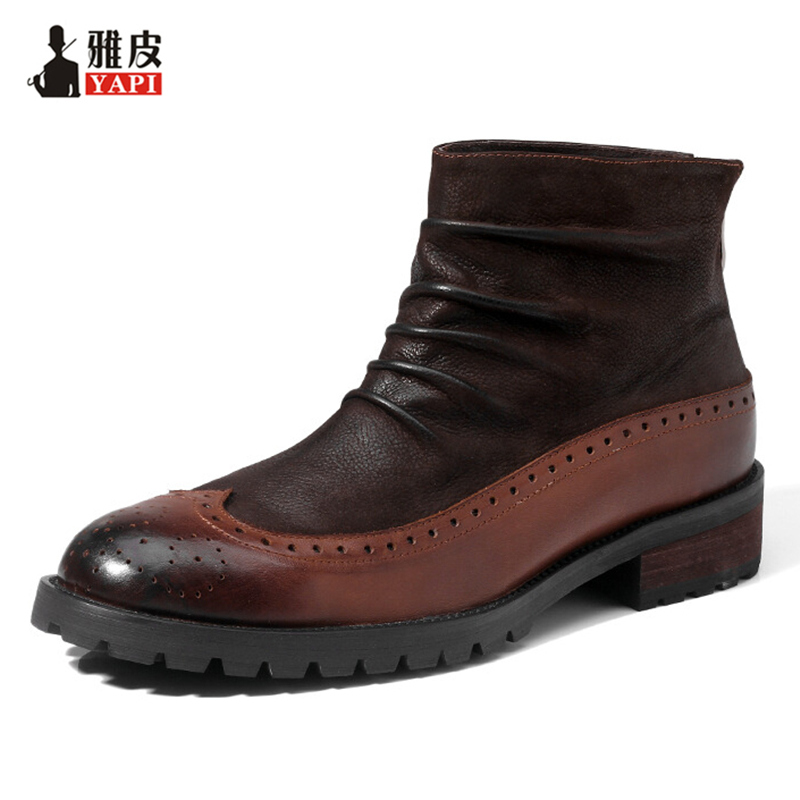 Retro Men Boots Full Grain Leather British Style Craved Wrinkle Martin Boots Business Man Brogue Shoes Winter Snow Boots british style men real leather brouge shoes boys new spring zip retro casual shoes craved wing tips flat man oxfords