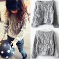 Nova 2015 otoño invierno gris sweaters tejidos niños niñas niños ropa casual chica jersey traje 2 ~ 7 age infantil suéter