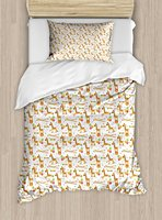 Giraffe Duvet Cover Set Circus Pattern with Playful Cartoon Characters Colorful Flags Balloons Hula Hoops Decor 4pcs Bedding Set