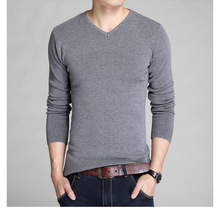Laamei Cotton Sweater Men Long Sleeve Pullovers Slim Fit Man V-Neck Sweaters Tops Loose Solid Color Knitting Clothing Male Pull