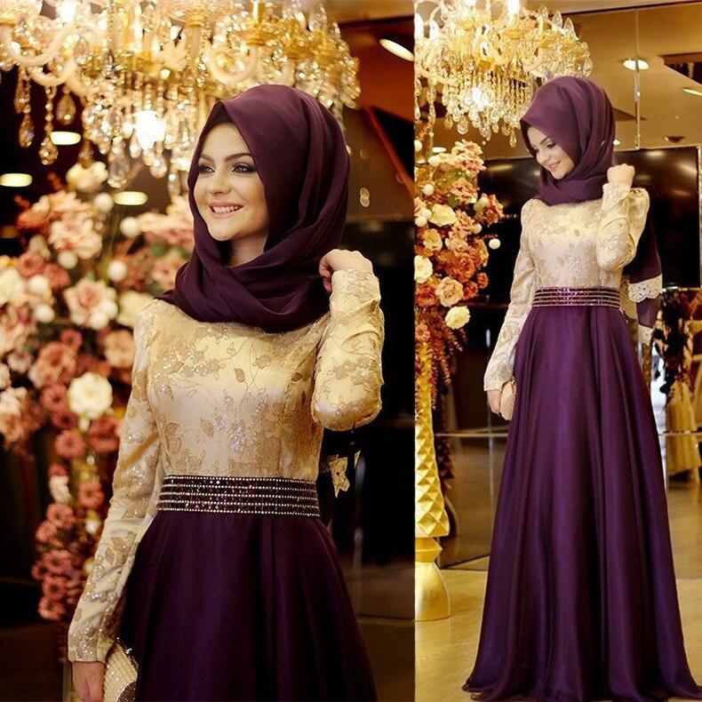 Dubaï caftan arabe islamique musulman robes de soirée manches longues blanc et Champagne strass robes de soirée robes de soirée Vestido Longo