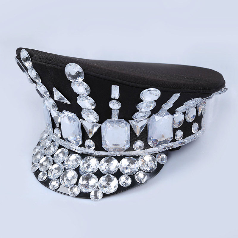 Image 3 - 2017 Direct Selling Winter Military Hats Gorras New Dance Night Bar Ds Costume Accessories Rhinestone Hat Uniform Big Cover-in Women's Military Hats from Apparel Accessories