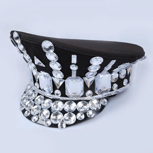 Image 3 - 2017 Direct Selling Winter Military Hats Gorras New Dance Night Bar Ds Costume Accessories Rhinestone Hat Uniform Big Cover