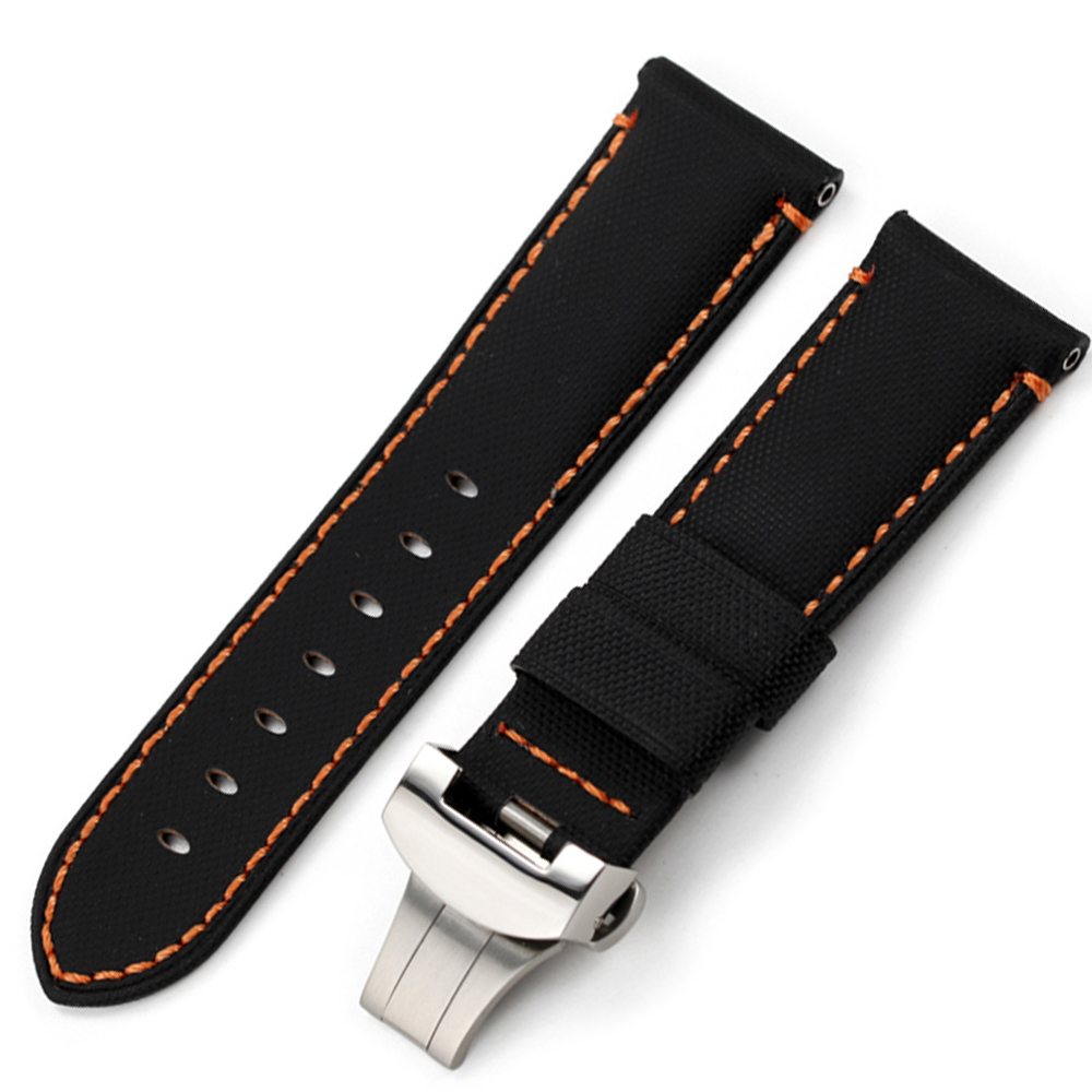 Image 4 - CHIMAERA 24mm Farbic+Leather Watchband For PAM Balck Vintage New fashion Watch Band Deployment buckle Watch Strap For Panerai-in Watchbands from Watches