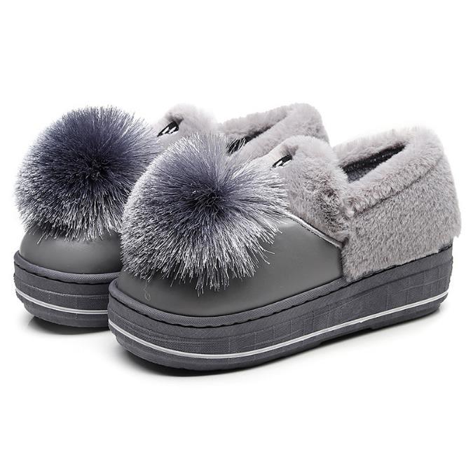 Velours Hiver Version Courtes Neige Coréenne 2018 gris rose Chaud Nouveaux Chaussures Noir Coton slip Femmes Plus La Le Non Bottes De pAZqcZ0x5w