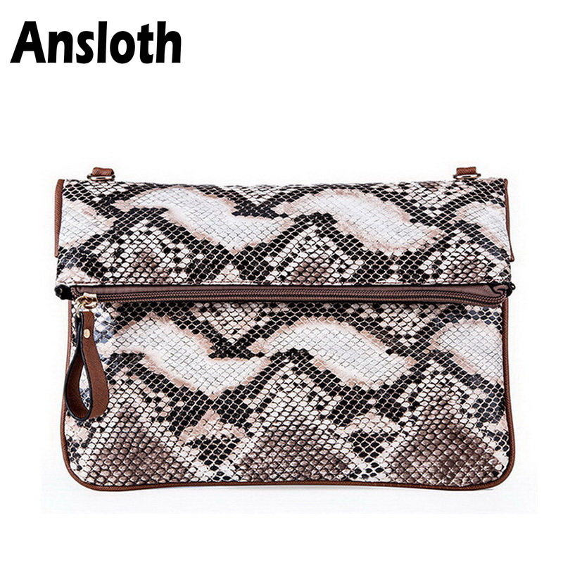 Ansloth Fashion Snake Pattern Messenger Bag For Women PU Leather Shoulder Bag Casual Crossbody Bag Women Day Clutches Bag HPS202 цена