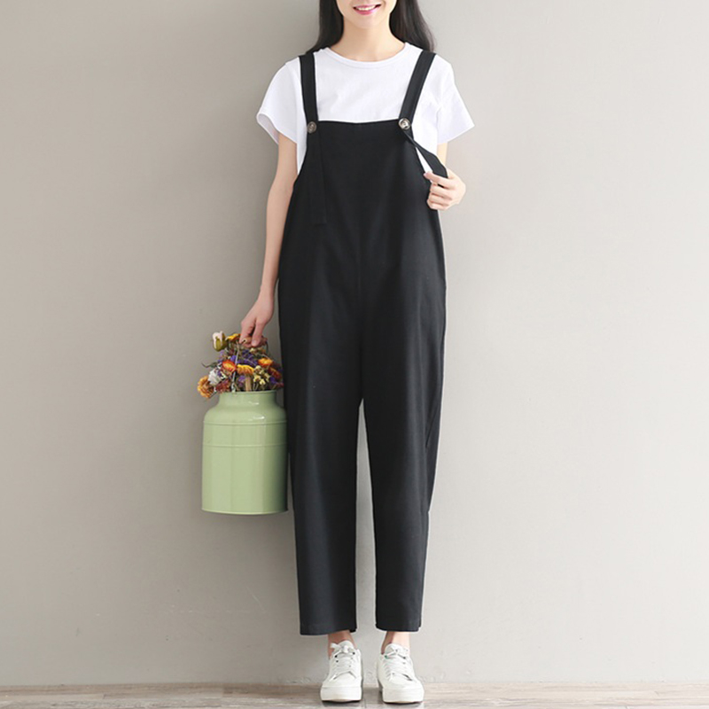 New Womens Summer Spaghetti Straps Wide Leg Harem Loose Long Pants Jumpsuit Cotton Linen Solid Romper Overalls Plus Size