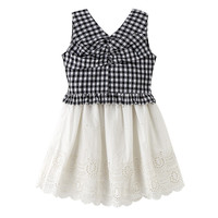 4 To 14 Years Kids Teenager Girls Summer Zipper Back Plaid V Neck Vest Top With