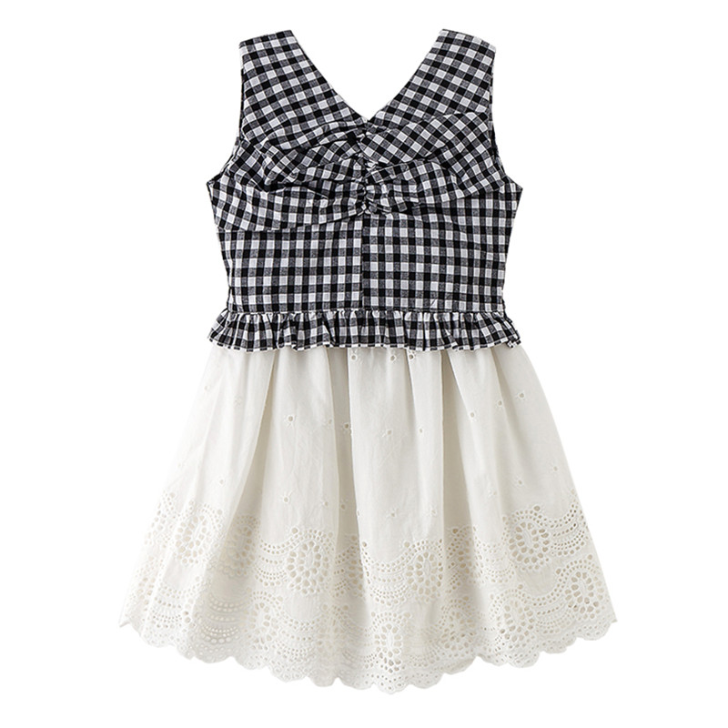 4 to 14 years kids & teenager girls summer zipper back plaid V-neck vest top with eyelet lace skirt 2 pieces set cotton clothes