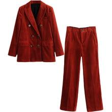 Set female 2018 autumn new temperament fashion corduroy suit