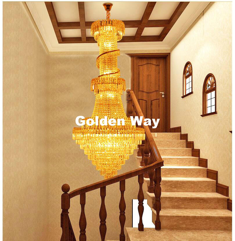 Hotel Crystal Chandelier LED Candle Holder Lamps Modern Long Large Chandeliers Villa Living Room Hanging Light Free Shipping modern crystal chandelier led hanging lighting european style glass chandeliers light for living dining room restaurant decor
