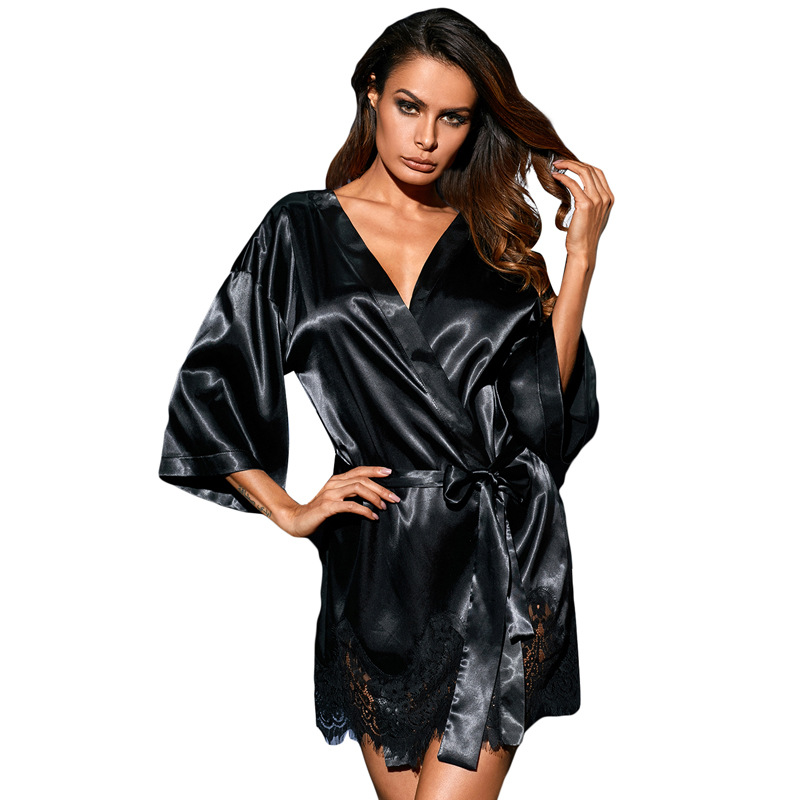 New Lady Sexy Nightwear deep V black lace-trimmed Robes Belt Womens Sleep Lounge Female  ...