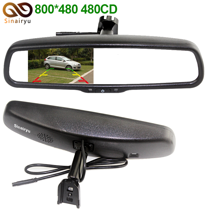 Sinairy 4.3 HD 800*480 Car Rearview Mirror Monitor 2CH Video Input For Car Rear View Camera Parking Assistance Car Video Player