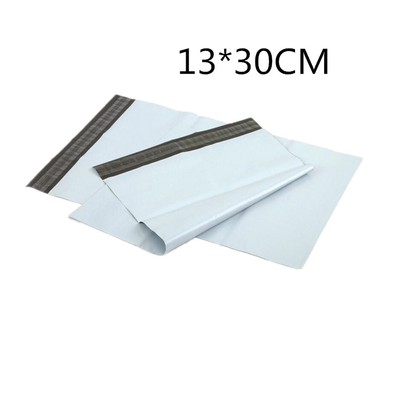 Hot Sale 10Pcs Lot 13x30cm Courier Mailer Storage bag White Poly Self seal Mail Express Courier