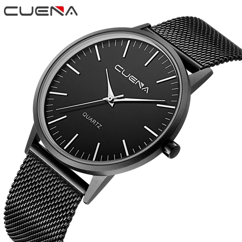 Men Ultrathin Luxury Fashion Quartz Watches Male Stainless Steel Watch Relojes Relogio Masculino Top Brand CUENA 6633G ot01 watches men luxury top brand new fashion men s big dial designer quartz watch male wristwatch relogio masculino relojes