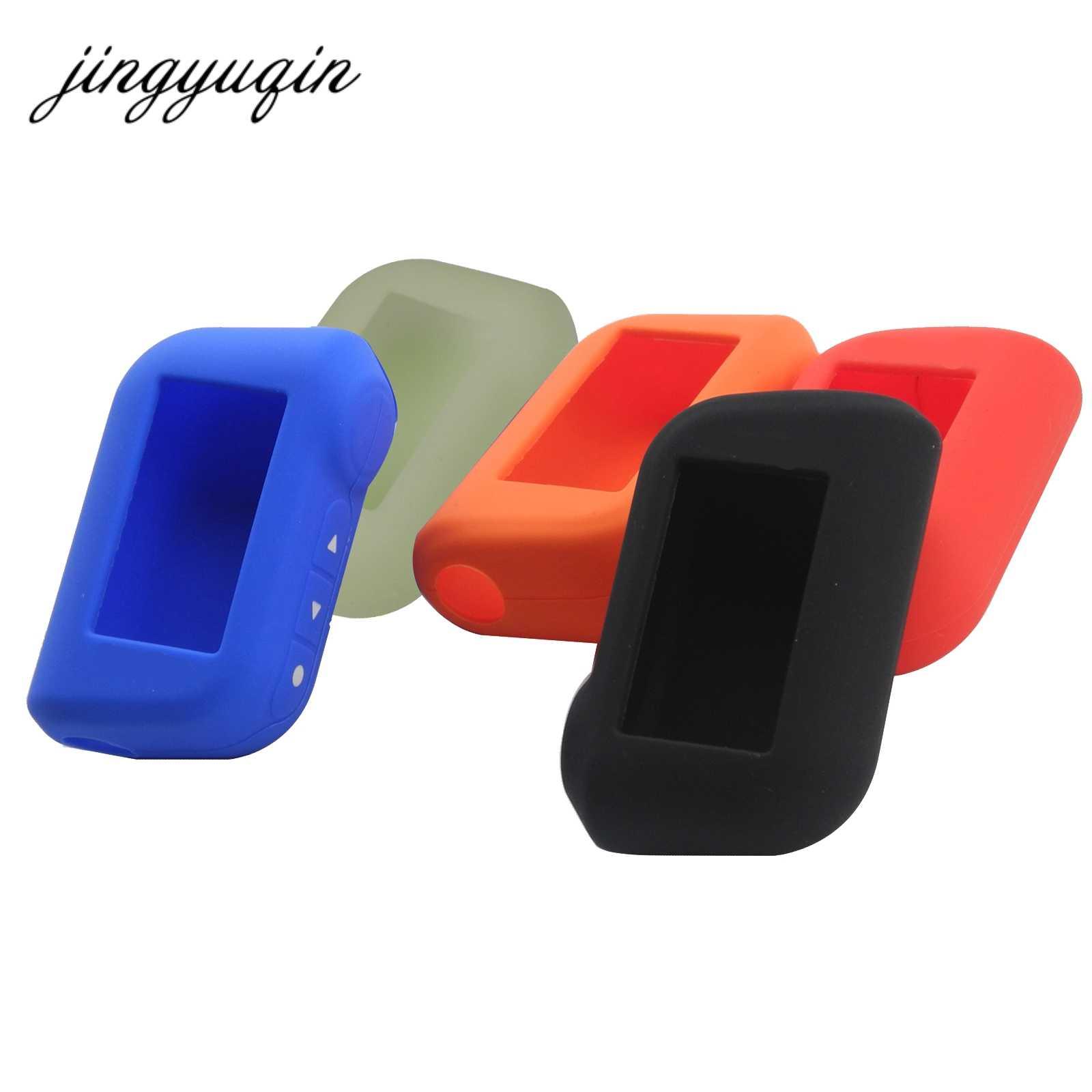 Jingyuqin A93 A96 A63 porte-clés housse en Silicone pour Starline A93 deux voies alarme de voiture télécommande LCD transmetteur