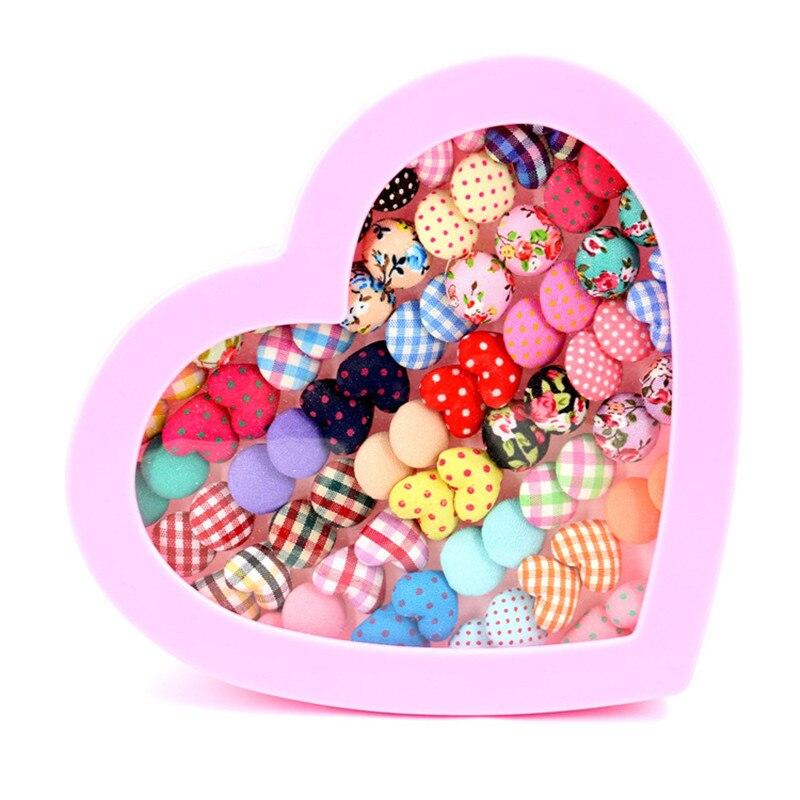 OATHYAN 36 Pairs/Lot Random 2017 New Arrival Print Flower Stud Earrings For Women Handmade Round Heart Shaped Small Earring Set