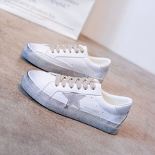 28521e85c6043 VIXLEO 2019 Women casual shoes Italy Golden Genuine Leather casual Trainers  Goose star shoes Breathe shoes