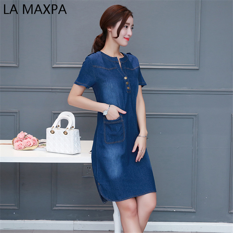 82aa9c8b7e3 high quality 2018 denim dress summer autumn clothing plus size women Jeans  dress elegant slim cowboy casual Dresses vestidos-in Dresses from Women's  ...
