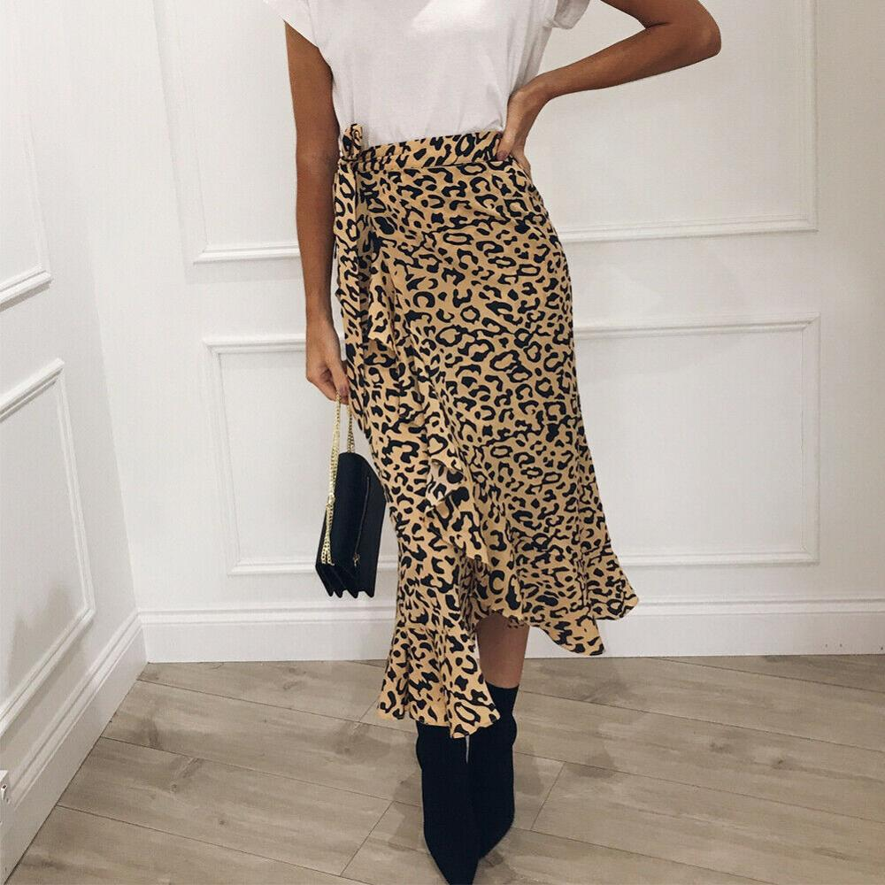 Fashion Women Girl Summer Boho Pleated Retro Long Maxi Skirt Elastic High Waist Leopard Print Bandage Midi Skirt