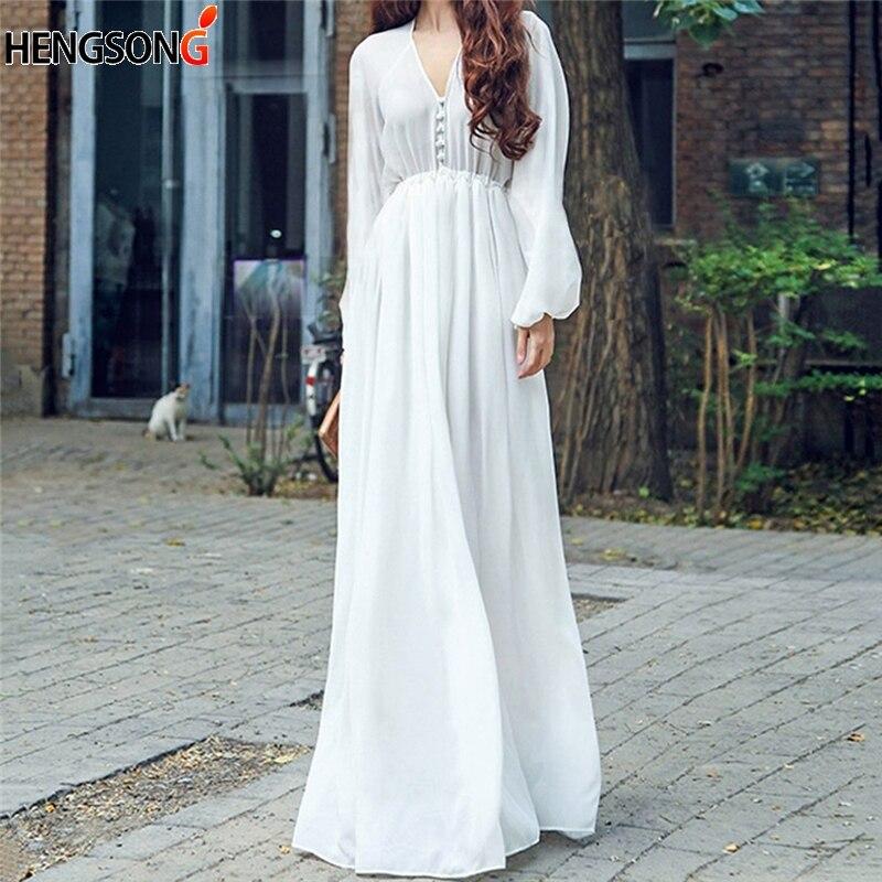 Deep V-neck Long Sleeve Chiffon Dress Summer Casual Party White Dress Women Long Maxi Dress Sexy Bohemian Beach Robe Vestidos