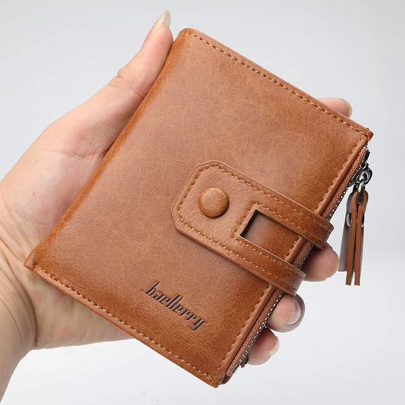 New Wallet Men Short Purse Coin Pocket Zipper Clutch Bag Mens Money Clips High Quality Male Wallets 3 Fold Multi-card bit Purse