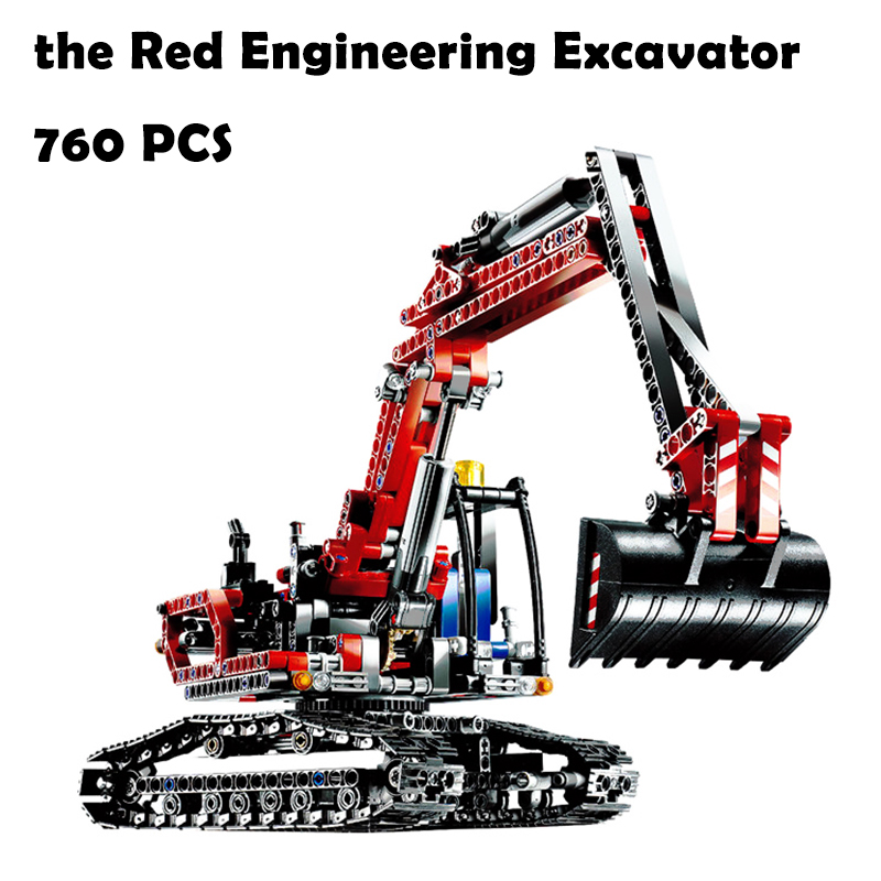 Model Building Blocks toys Red Engineering Excavator compatible with lego Technic Series 8294 Educational DIY toys & hobbies loz smartable technic series red excavator diy building brick blocks toys compatible with legoingly technic car gift toy to kid