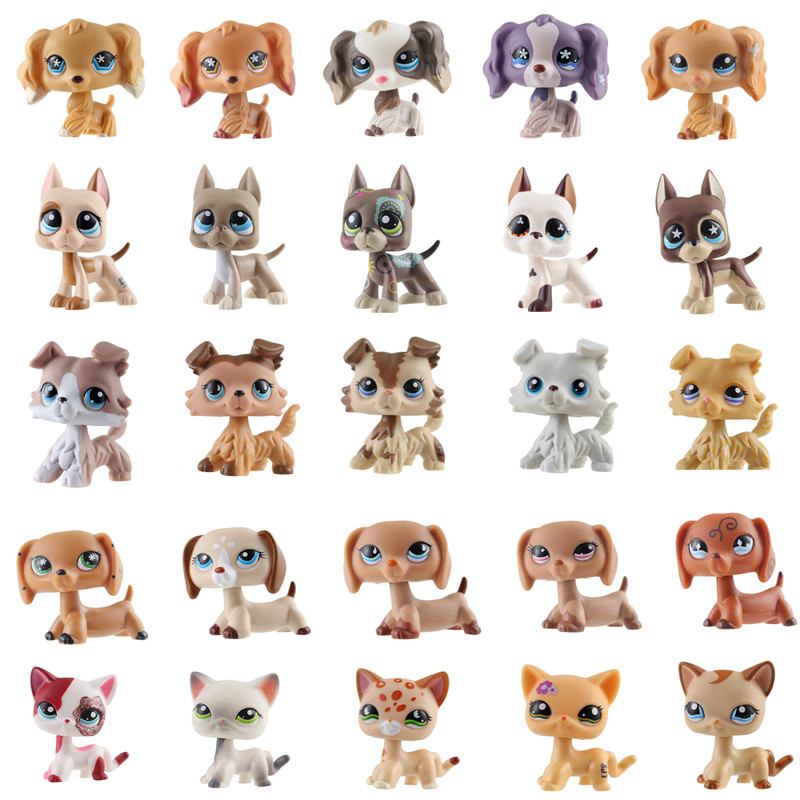 lps Real pet shop lps toy collections standing short hair cat White Tabby Black dachshund dog collie great dane birthday present