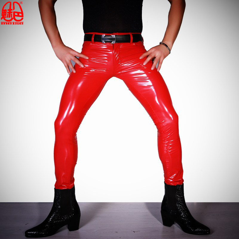 Sexy Men PVC Shiny Pencil Pants Tight Faux Leather Plus Size Punk Tight Elastic Zipper Fly Moto Pants Nightclub Gay Wear F123