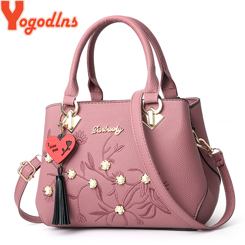 Yogodlns Women Handbag Tote-Bag Crossbody-Bag Embroidery Tassel Top-Handle Simple-Style