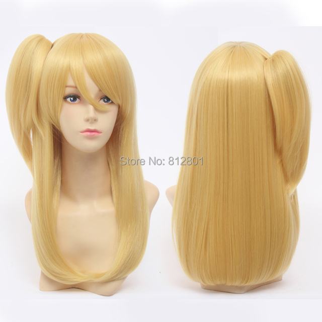 New ! Cosplay Party Wigs Women FAIRY TAIL Lucy Heartphilia Long Golden Natural Straight Hair Cosplay Wig + One Ponytail