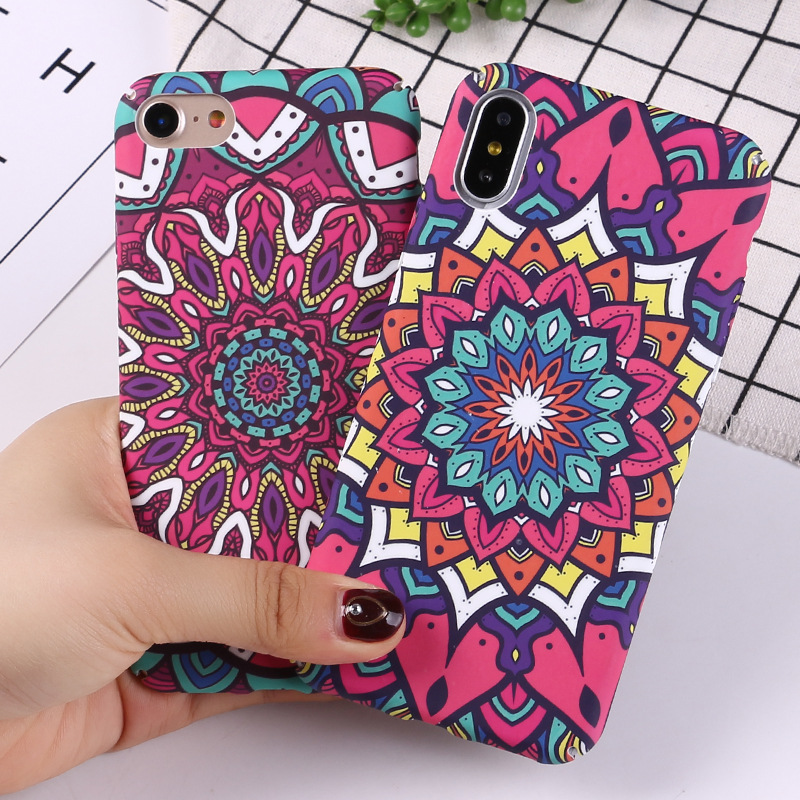 Luminous Flower Case For iPhone 6 6s 7 Plus Mandala Pattern Phone Cases Slim Matte PC Back Cover For iPhone X 8 7 6 6S Plus