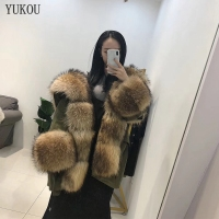 Real Natural Fox Fur Raccoon Fur Women Dress Long 2018 Winter Fashion Fox Fur Parka Jacket Inner Liner Feather Coat