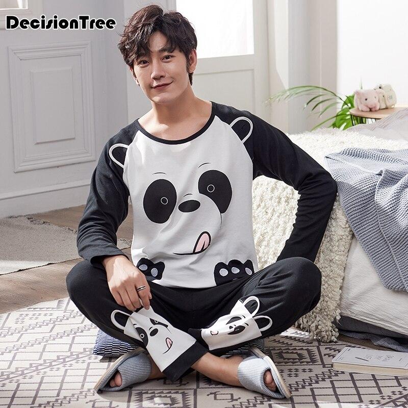 2020 Men Sleepwear Pyjamas Sleepwear Cooky Cartoon Shirts And Pants Cotton Homewear Sets