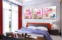 무료 배송 3 개 추상 핑크 백합 꽃 인쇄 그림