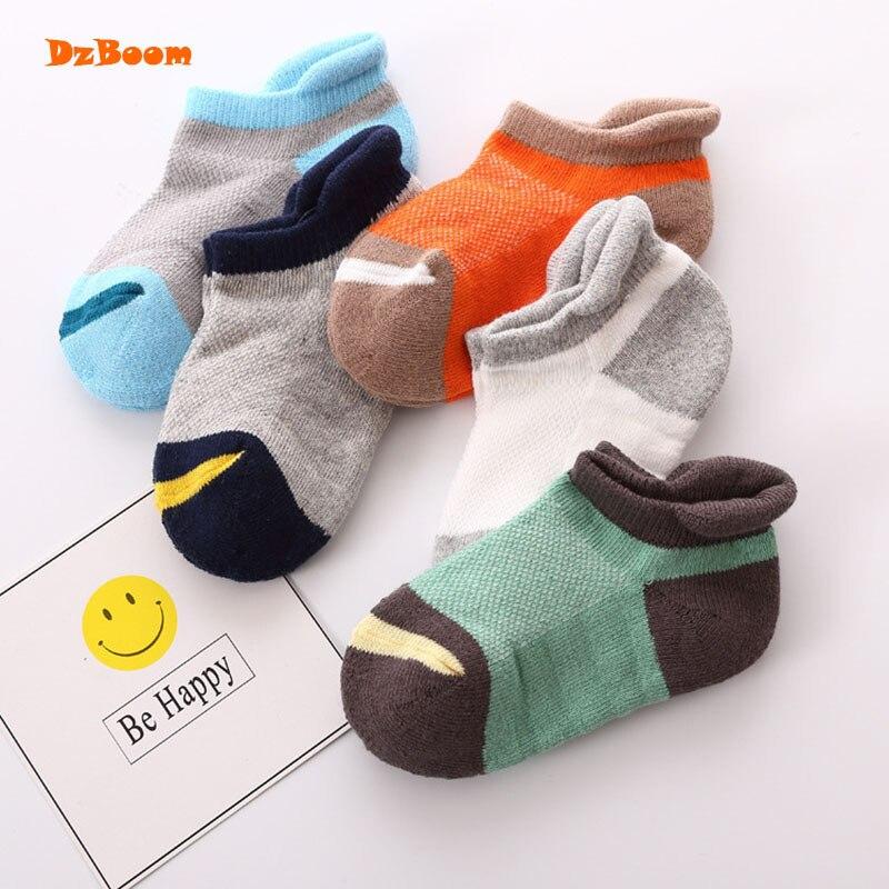 5 Pairs/lot Baby Casual Cute Cotton Boy Girl Kids Socks 2017 Spring Summer New Cartoon Print Infant Slip Kid Children Sock Set