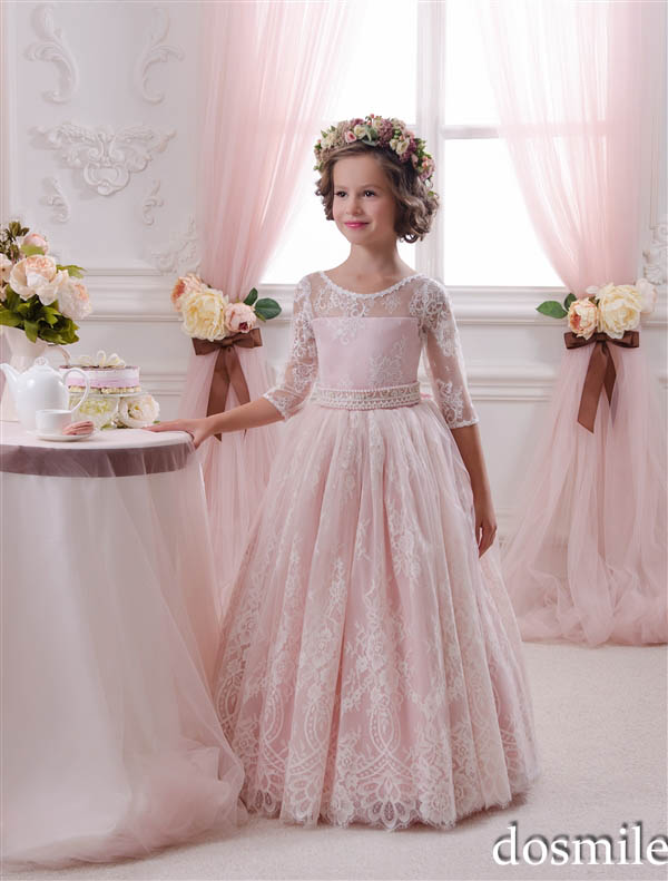 0cd37dd2d7e 2016 Lovely Gorgeous Lace Sheer neck Half Sleeve Princess Flower Girl  Dresses Pink ball gowns Wedding party kids frocks designs