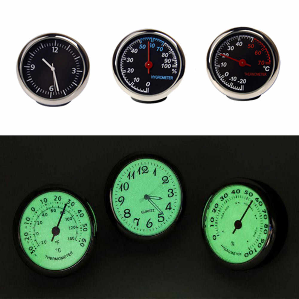 Auto Digital Clock Mini Car Auto Fluorescent Watch Thermometer Hygrometer Dashboard Decoration Ornament Clock In Car Accessories