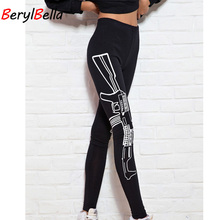 Autumn Women Leggings 2018 Casual Guns Printed Cotton Leggings For Women Stretch Elastic Female Pants Skinny Black