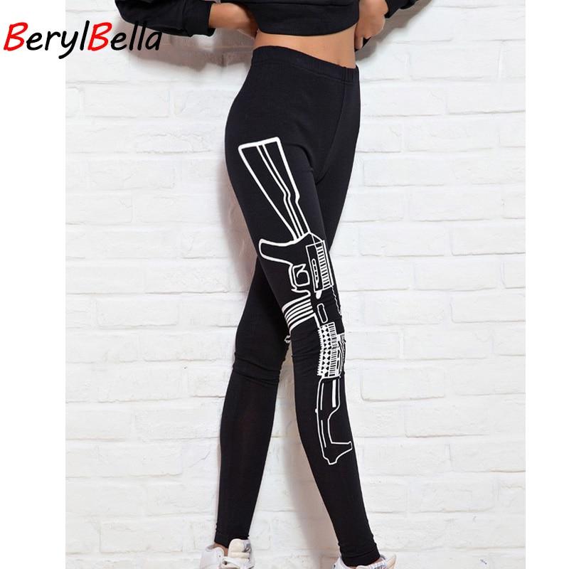 Spring Summer Women Leggings 2020 Casual Guns Printed Cotton Leggings For Women Stretch Elastic Female Pants Skinny Black