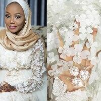 Бесплатная доставка! Африканский sequinse 3D Цветы бисер Кружево ткани в африканском стиле праздничное платье nq397