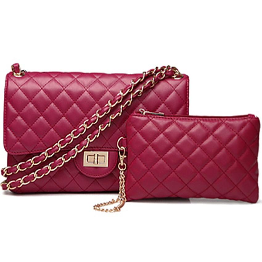 2Pcs/Set fashion Genuine Leather flap bag Women crossbody shoulder Bags Female Purse clutch diamond Office evening Lady hand bag