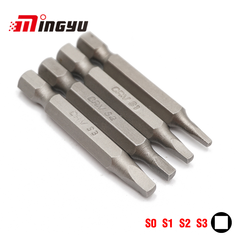 4pcs 50mm Square Bit Set 1/4