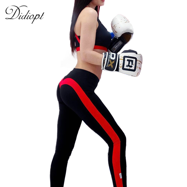 aa8b1b0ccc Goodbuy 2017 Black Fitness Leggings Womens Bottoms Workout Clothes for Women  Red Patchwork Long Pants Casual Legging Female