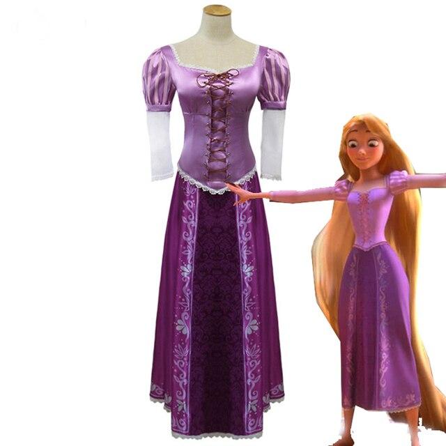 pelcula enredada la princesa rapunzel vestidos halloween partido cosplay de la manera de las mujeres vestidos